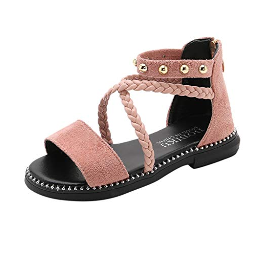 RAINED-Summer Baby Girls Sandals Cross Tie Wave Metal Princess Shoes Sandals Platform Bling Dress Shoes Pink