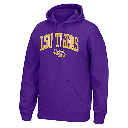 (Top of the World NCAA Men's Lsu Tigers Applique Arch Over Hoodie Purple X)