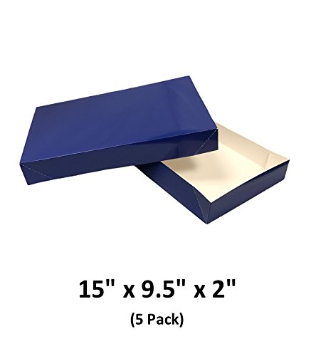 Royal Blue Apparel Decorative Gift Boxes With Lids For Clothing and Gifts 15x9.5x2 (5 Pack) | MagicWater Supply