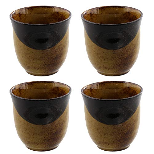 Zen Table Japan Japanese Teacups Yunomi Made in Japan Set of 4 - Caramel