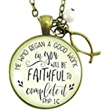 """24"""" Christian Necklace He Who Began A Good Work Bible Quote Inspired Jesus Jewelry For Women Ichthys Charm"""