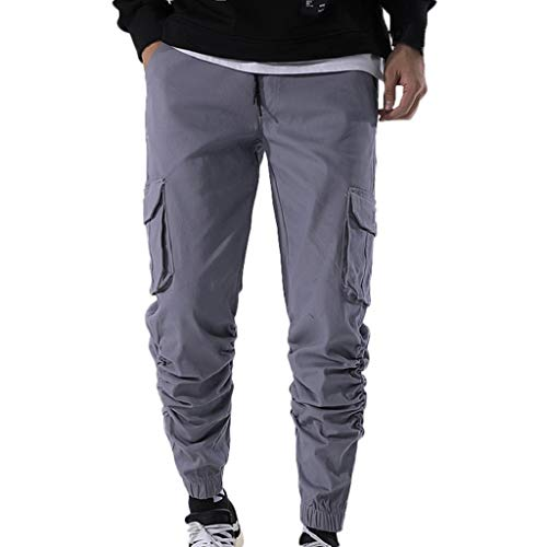 (Photno Men Cargo Pants Slim Fit Classic Big and Tall Trousers Sports Slacks with Pockets)