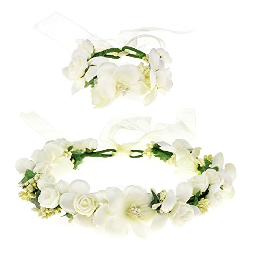 Love Sweety Rose Flower Crown Wreath Wedding Headband Wrist Band Set (Ivory)