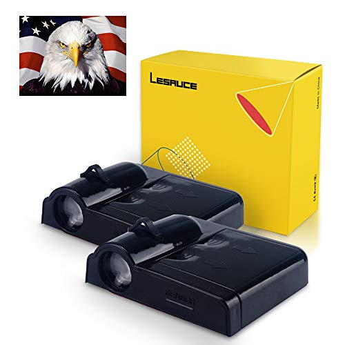 LESAUCE Universal Wireless Car Door Projector Shadow Logo Lights Led Projection welcome puddle lamp Courtesy Step Light with Legend Bald Eagle Symbol,2 - Bald Eagle Legends