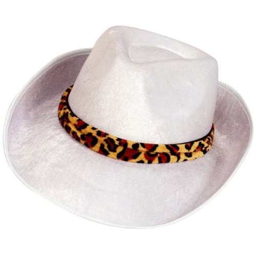 Forum Novelties Men's Novelty Adult Velvet Fedora Hat, White/Leopard, One Size