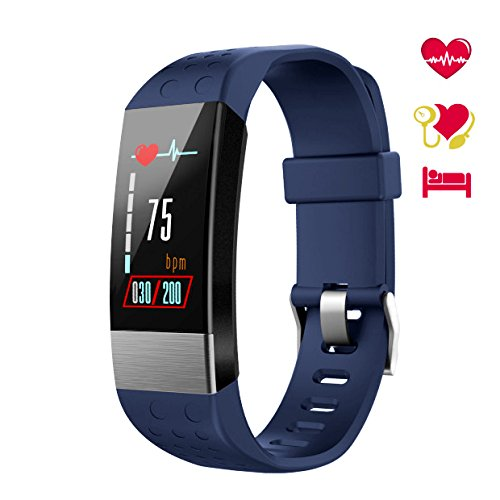 WiMiUS Fitness Tracker Color Screen, Smart Watch Heart Rate Monitor, IP67 Waterproof Activity Tracker Calorie Counter Pedometer Blood Pressure Sleep Monitor Kids Men Women Blue Blue