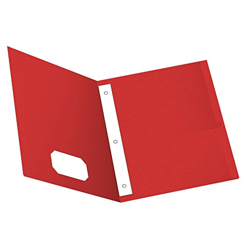 Oxford Twin Pocket Folders with Fasteners, Letter Size, Red, 25 per Box (57711)