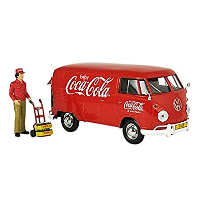 Coca-Cola 1/24 1963 Volkswagen T1 Cargo Van with New Delivery Driver, Handcart & 2 Bottle Cases: Toys & Games