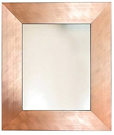 Amazon.com: Brushed Copper Rose Gold Metal Finish Framed Wall Mirror ...