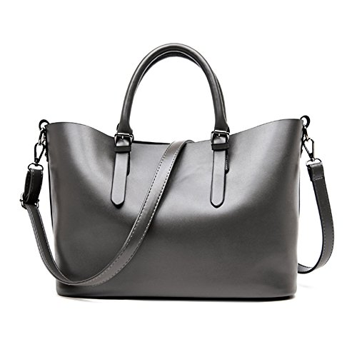 Jonon High Capacity Women Piece Gray Bag Fashion Tote Purse Pu Shoulder Set Bags Handbag 2 Leather AfAwCdqnWr