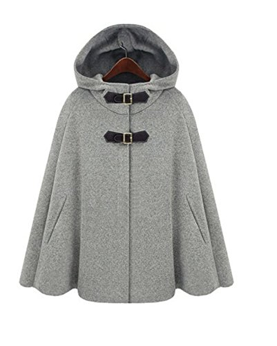 Cape Outerwear - Taiycyxgan Women's Batwing Cape Wool Poncho Jacket Warm Cloak Coat Gray S