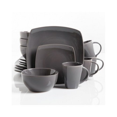 Square Dinnerware Service for 8, Plates Bowls Mugs, 32-Piece Set, Modern Gray