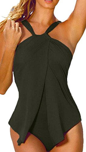 X-Future Women's One Piece Halter Ruffles Swimsuit Bathing Suit Swimwear 41uyORnMDYL