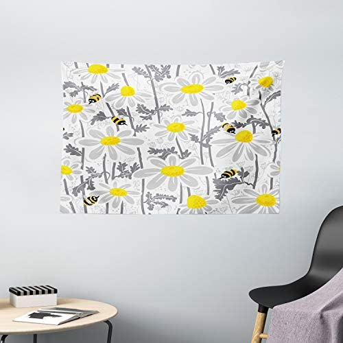 Ambesonne Grey Tapestry, Daisy Flowers with Bees in Spring Time Honey Petals Floret Nature Purity Blooming, Wide Wall Hanging for Bedroom Living Room Dorm, 60 X 40 , Yellow White