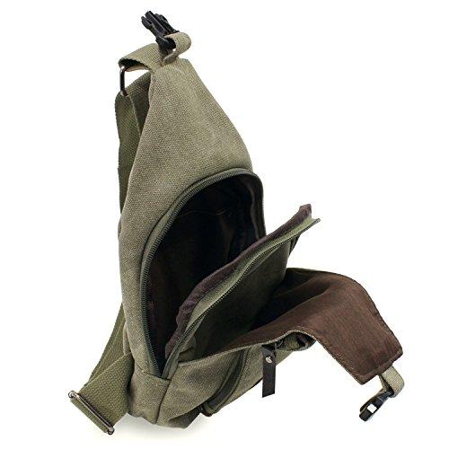 hombro Sling bolsa Mochila Ocio bolsillo Senderismo de la Verde de PsmGoods® bolsa lona hombres viaje pecho 6OUqwxA5an