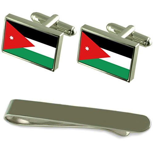 Jordan Flag Silver Cufflinks Tie Clip Box Gift Set by Select Gifts