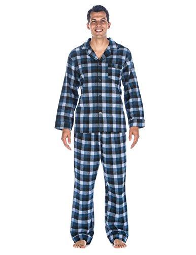 (Mens Premium Flannel Pajama Sleepwear Set - [Denim Tone] - XLarge)