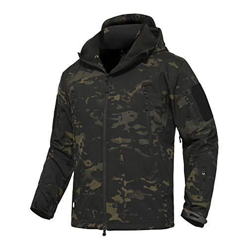 ANTARCTICA Men's Mountain Waterproof Ski Jacket Outdoor Sports Windproof Rain Jacket (Black Camo, XL) (Mens Army Fleece Jacket)