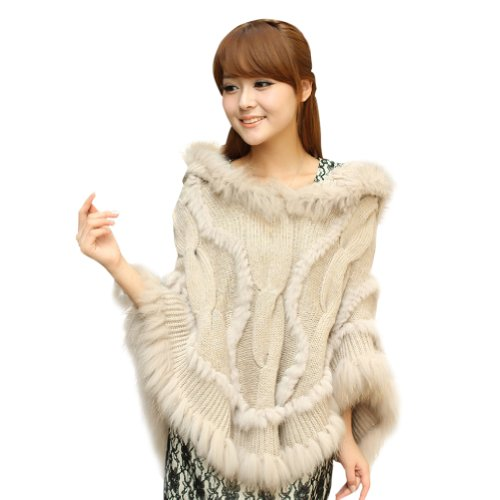 Ferrand Women's Large Real Genuine Raccoon Fur Cape Shawl Stole Jacket Poncho With Hood Beige
