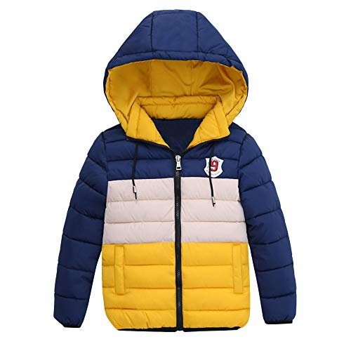 Moonker Baby Boys Girls Winter Coats Jacket 4-7 Years Old,Kid Zipper Patchwork Hoodie Warm Padded Thick Outerwear Clothes (5-6 Years Old, Yellow)