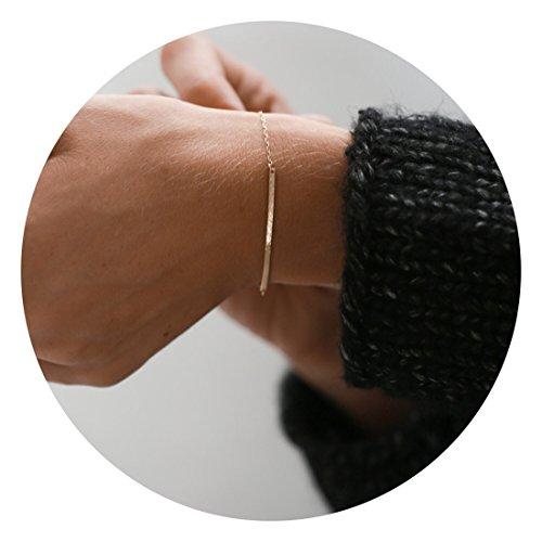 Handmade Dainty Gold Bar Bracelet for Women 14K Gold Filled