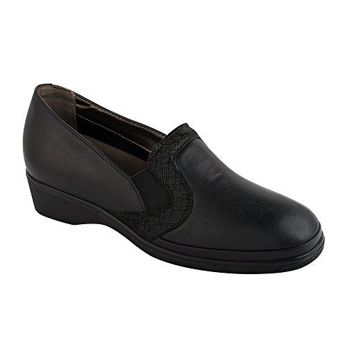 Scholl NALLYE black - Zapatillas de casa de piel mujer negro