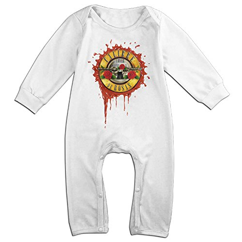 Tumble Leaf Costume (KIDDOS Baby Infant Romper Guns N' Roses Long Sleeve Jumpsuit Costume,White 18 Months)