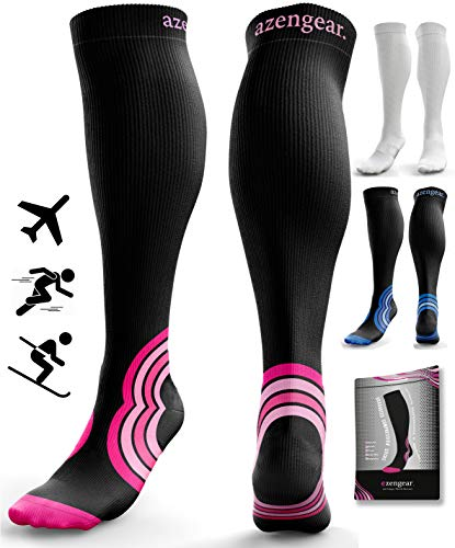Compression Socks for Women & Men - 20-30 mmHg - Flight Travel - DVT - Nurses - Pregnancy - Maternity - Pro Sports - Skiing - Blood Circulation - S/M