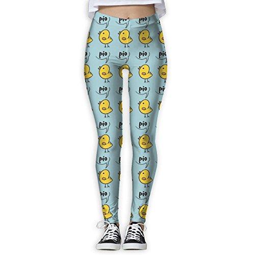 DYOW Women's Fun Animals Baby Chicken Print Sports Gym Yoga Leggings Pants -