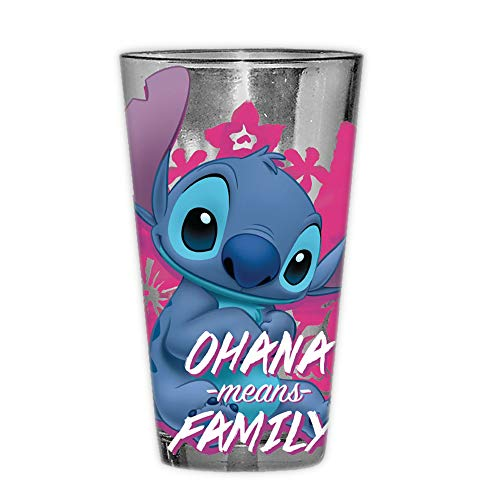 Disney LI124166B Lilo and Stitch Ohana Means Family Pint Glass with Gift Box, 16-Ounce, blue and pink