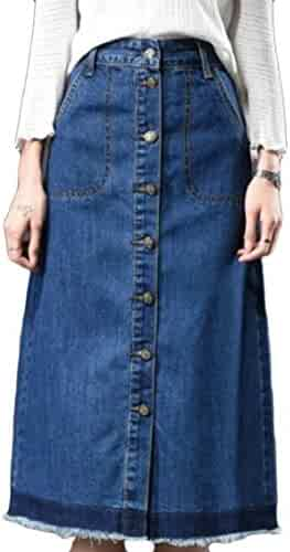fc33f0fe78 ouxiuli Women Vintage Elegant Single Breasted Cotton Wash Slim Fitted  Stretchy Large Size Denim Skirt