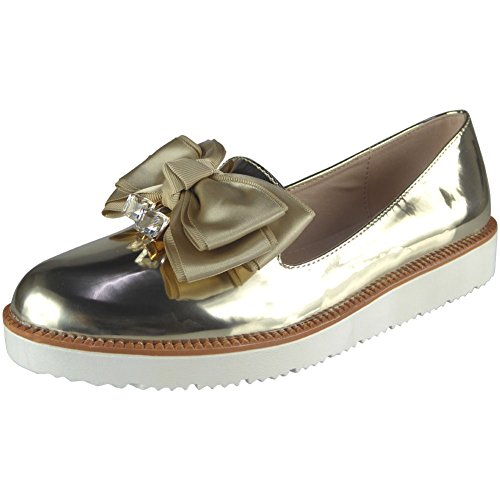 Loud Look Ladies Shimmer Slip On Flat Bow Sneakers Pumps Trainers Size 3-8 Gold o4rPav