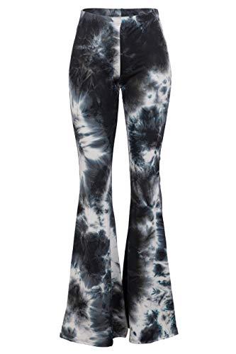 - Fashionomics Womens Boho Comfy Stretchy Bell Bottom Flare Pants (L, Tiedye 1)
