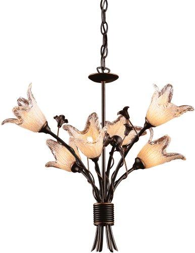 ELK 7958/6, Fioritura Blown Glass 2 Tier Chandelier Lighting, 12 Light Halogen, Aged Bronze
