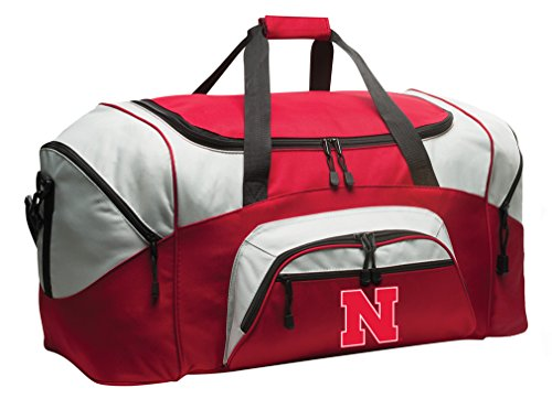 Broad Bay Deluxe University of Nebraska Suitcase Duffel Bag or Large Nebraska Huskers Gym Bag Gear Duffle