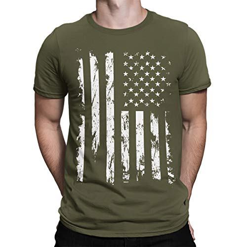 SpiritForged Apparel Distressed White USA Flag Men's T-Shirt, Moss XL