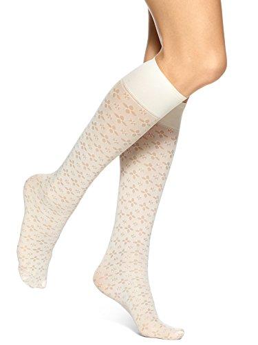 Hue Women's Spring Eyelet Knee High Socks, Ecru, (Hue Knee High Socks)