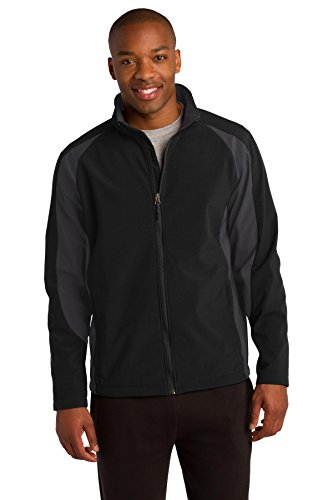 - Sport-Tek Colorblock Soft Shell Jacket. ST970 Black/ Iron Grey L
