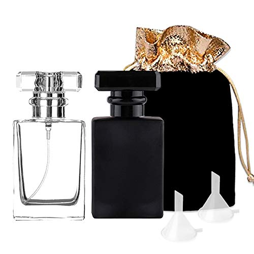 Luxsego Perfume Bottle Atomizer with Funnels, 30ML Refillable Perfume Spray Fine Mist, Empty Spray Bottle Flint Glass Cologne atomizer for Travel, Handbag or Date (Gift Bag Included) (Black+White) (Cologne Small Bottle)