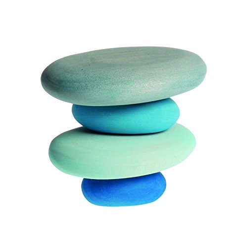 River Pebbles Wooden Stacking Stones for Creative Building & Balance (River Design)