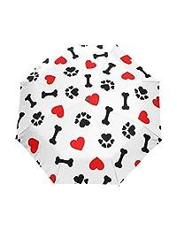 XLING Paraguas automático con diseño de Huella de Perro y Animal, Antideslizante, Resistente al Viento, Compacto, Paraguas de Lluvia para Mujeres, Hombres, niñas, niños