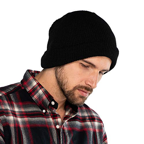 (C.C Exclusives Unisex Soft Stretch Knit Beanie with Reversible (Black, Waffle)