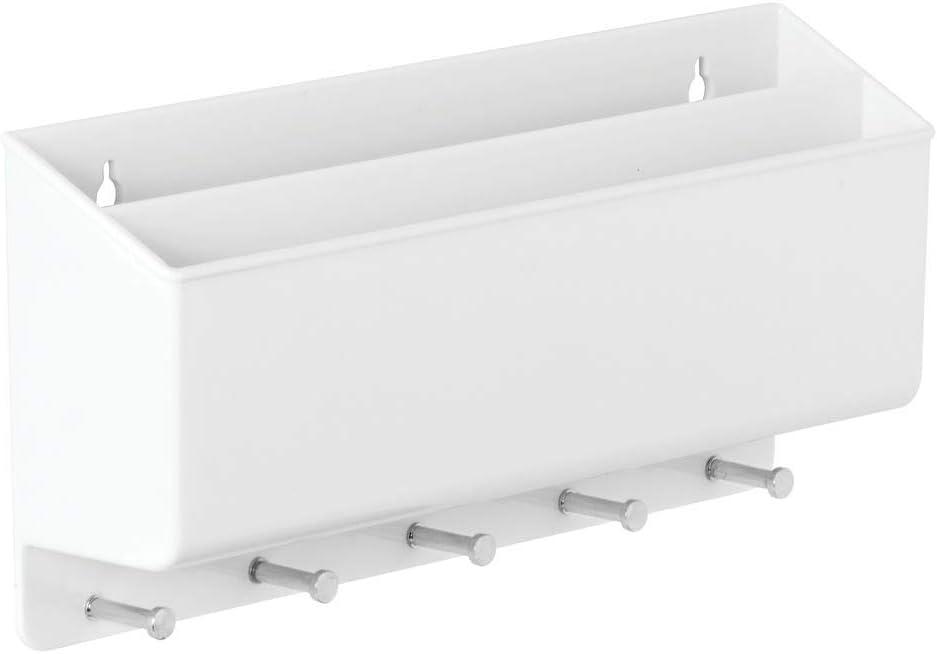 mDesign Set da 2 Pratici portacorrispondenza da muro Portachiavi multiuso per parete in plastica e metallo Porta chiavi da parete con 2 scomparti per la posta e 5 ganci crema