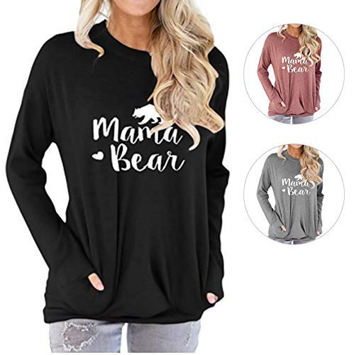 T-shirt Funny Design Black - Barnkas Women Mama Bear Shirt Batwing Long Sleeve Sweatshirt Loose Fit Casual Tops T Shirts with Pockets (L, Black2)