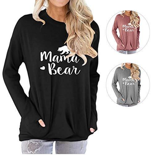 Barnkas Women Mama Bear Shirt Batwing Long Sleeve Sweatshirt Loose Fit Casual Tops T Shirts with Pockets (L, Black2)