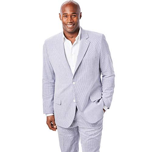 Ks Signature Men's Big & Tall Linen Blend Two-Button Suit Jacket, Navy Stripe Seersucker Big-52