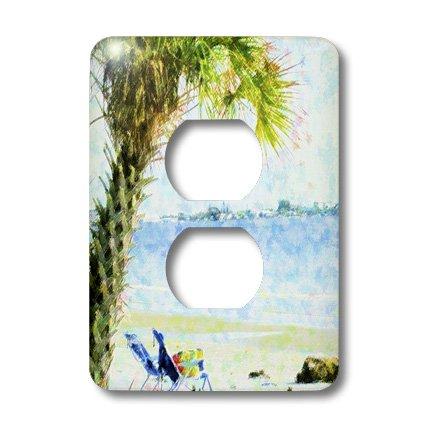3dRose LLC lsp_35308_6 Blue Green Palm On Sanibel Beach, 2 Plug Outlet - Outlet Sanibel