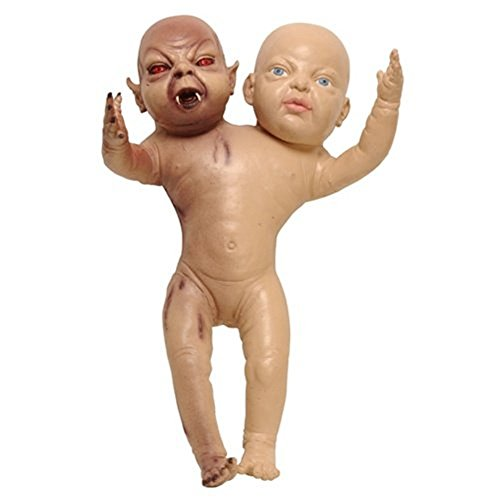 Demon Baby Halloween Prop : Two Headed Devil Twin Newborn Decoration (Creepy Baby Doll Costume)