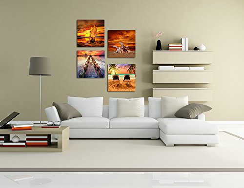 Sunset Seascape Wall Art Decor Sea Beach Seaside Vacation Time Canvas Prints Framed Pictures Giclee Artwork Paintings Stretched and Framed Modern Nature Ocean Landscape Art Home Decor 4 Panel