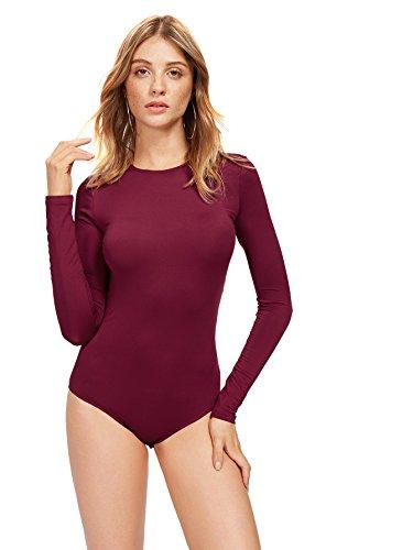 - DIDK Women's Long Sleeve Backless Lace Applique Bodysuit Burgundy M